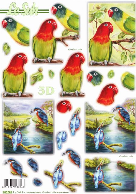 Kingfisher & Parrot Designs Die Cut 3d Decoupage Sheet From Le Suh - NO CUTTING
